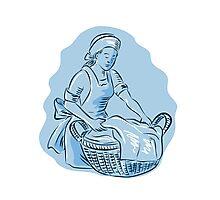 Laundry Maid Basket Vintage Etching Photographic Print
