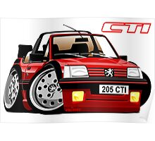 Peugeot 205 CTI caricature red Poster