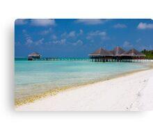 Beach and Beach Bar Maldives Canvas Print