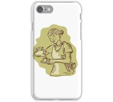 Waitress Pouring Tea Cup Vintage Etching iPhone Case/Skin
