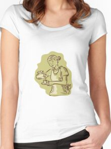 Waitress Pouring Tea Cup Vintage Etching Women's Fitted Scoop T-Shirt