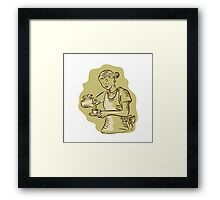 Waitress Pouring Tea Cup Vintage Etching Framed Print