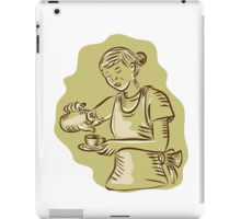 Waitress Pouring Tea Cup Vintage Etching iPad Case/Skin