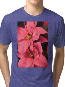 Hot Pink Poinsettias a la Georgia O'Keeffe Tri-blend T-Shirt