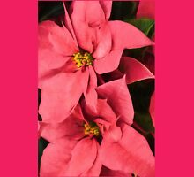 Hot Pink Poinsettias a la Georgia O'Keeffe Womens Fitted T-Shirt