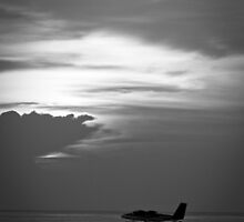 Black and White Sunset with Sea Plane by Craig Ringland