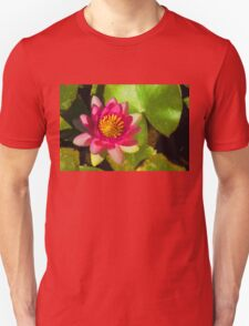 Waterlily Impression in Fuchsia and Pink Unisex T-Shirt