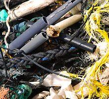 Medley of plastic beach flotsam in Hawaii by Michael Brewer