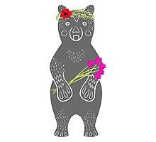 Grey bear standing Photographic Print
