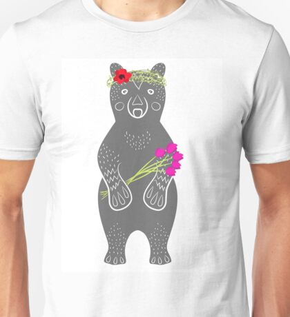 Grey bear standing Unisex T-Shirt