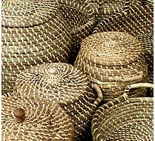 Baskets on market Kampen Netherlands Photographic Print