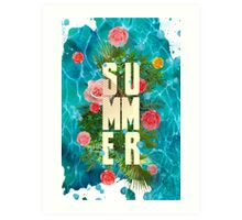 Summer collage with flowers and palm trees Art Print