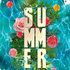 Summer collage with flowers and palm trees by mikath