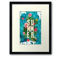 Summer collage with flowers and palm trees Framed Print