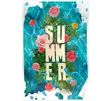 Summer collage with flowers and palm trees Poster