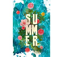 Summer collage with flowers and palm trees Photographic Print