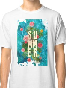Summer collage with flowers and palm trees Classic T-Shirt