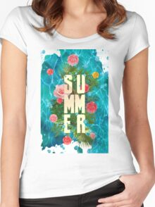 Summer collage with flowers and palm trees Women's Fitted Scoop T-Shirt