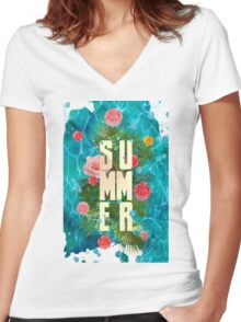 Summer collage with flowers and palm trees Women's Fitted V-Neck T-Shirt
