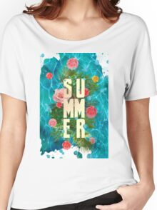 Summer collage with flowers and palm trees Women's Relaxed Fit T-Shirt