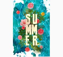 Summer collage with flowers and palm trees Unisex T-Shirt