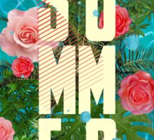 Summer collage with flowers and palm trees Sticker