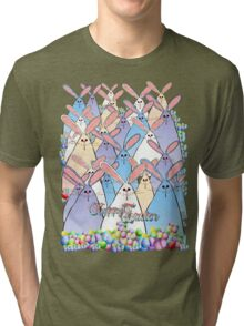 Happy Easter Bunnies Lettered Tri-blend T-Shirt