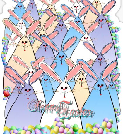 Happy Easter Bunnies Lettered Sticker