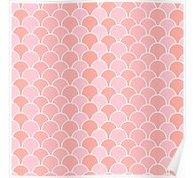 Girly pink coral modern scallop pattern Poster