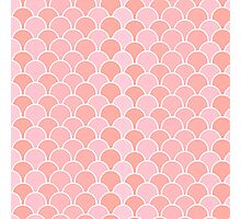 Girly pink coral modern scallop pattern Photographic Print