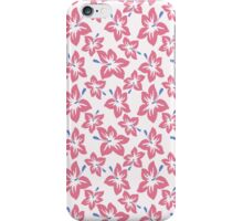 Trendy pink blue abstract tropical flowers iPhone Case/Skin