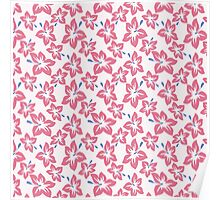 Trendy pink blue abstract tropical flowers Poster