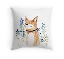 Fox and Flower Throw Pillow