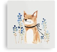 Fox and Flower Metal Print