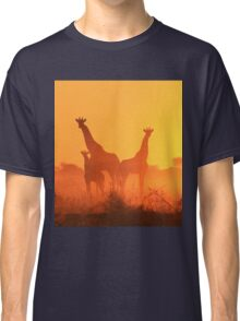 Giraffe - African Wildlife Background - Golden Sunset Bliss Classic T-Shirt