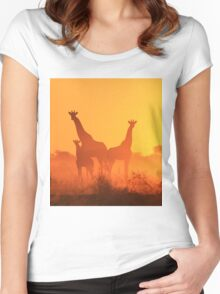 Giraffe - African Wildlife Background - Golden Sunset Bliss Women's Fitted Scoop T-Shirt