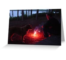 Ken and Dixie - Contemplating the Fire Greeting Card