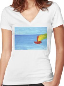 Boat and sea - paint Women's Fitted V-Neck T-Shirt