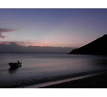 Boat at sunset Photographic Print