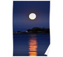 Moon Rise Over Castle Pinckney #2 Poster