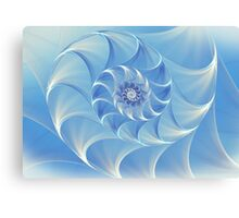 Abstract fractal nautilus background with blue shell Canvas Print