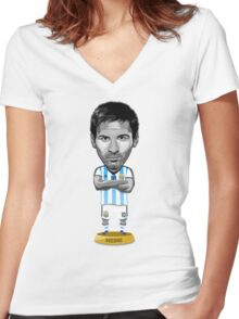 Messi figure Women's Fitted V-Neck T-Shirt