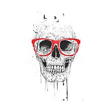 Skull with red glasses Photographic Print