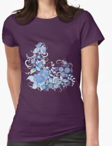 Blue flower and berries Womens Fitted T-Shirt