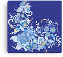 Blue flower and berries Canvas Print