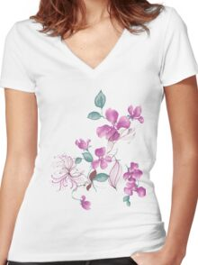 Cute purple flowers Women's Fitted V-Neck T-Shirt