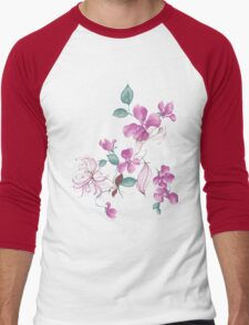 Cute purple flowers Men's Baseball ¾ T-Shirt