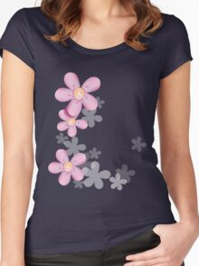 Cute pink flowers Women's Fitted Scoop T-Shirt