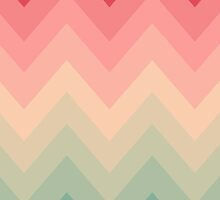 Pastel Red Pink Turquoise Ombre Chevron Pattern  by GirlyTrend