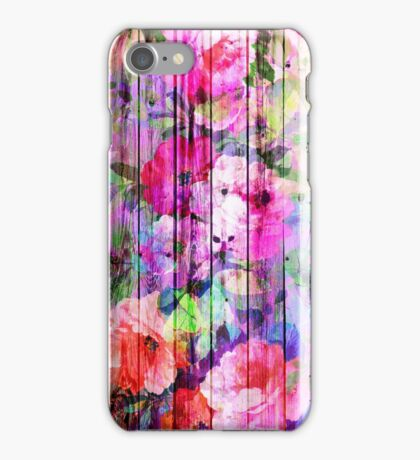 Vintage Bright Chic Floral Pattern Purple Wood iPhone Case/Skin